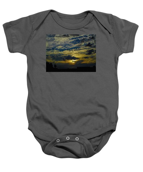 Silver, Blue And Gold Baby Onesie