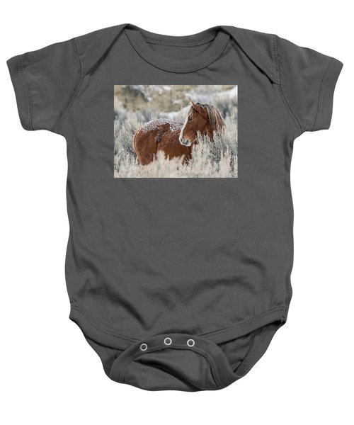Snow Dusted Mustang Stallion Baby Onesie