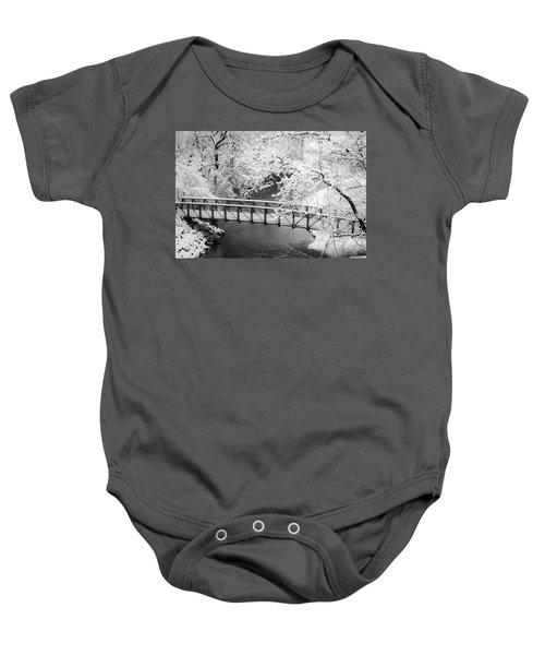 Snowy Bridge On Mill Creek Baby Onesie