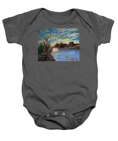 Snowy Range And Lookout Lake Baby Onesie