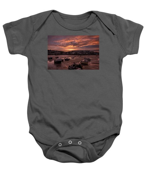 St Ives Cornwall - Harbour Sunset Baby Onesie