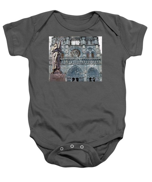 St Joan Of Arc Watch Over Notre Dame Baby Onesie
