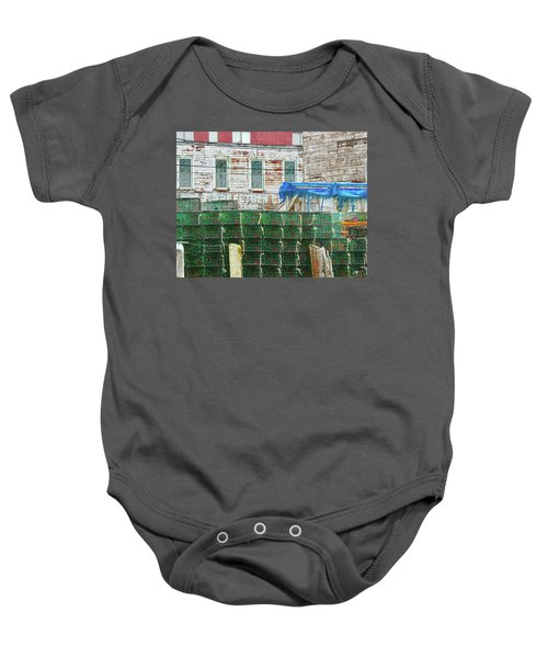 Stacked Lobster Traps Baby Onesie