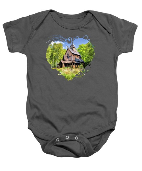 Stavkirke Church On Washington Island Door County  Baby Onesie