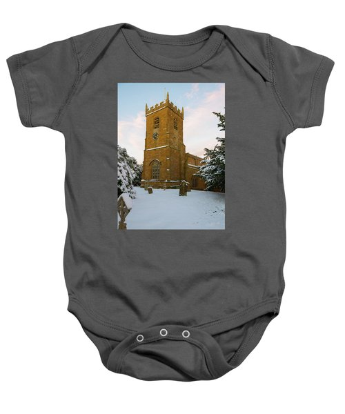 Stone Church In The Snow At Sunset Baby Onesie