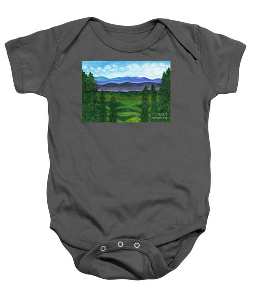 View From A Mountain Slope To Distant Mountains And Forests Baby Onesie