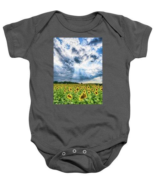 Sunflower Field Baby Onesie