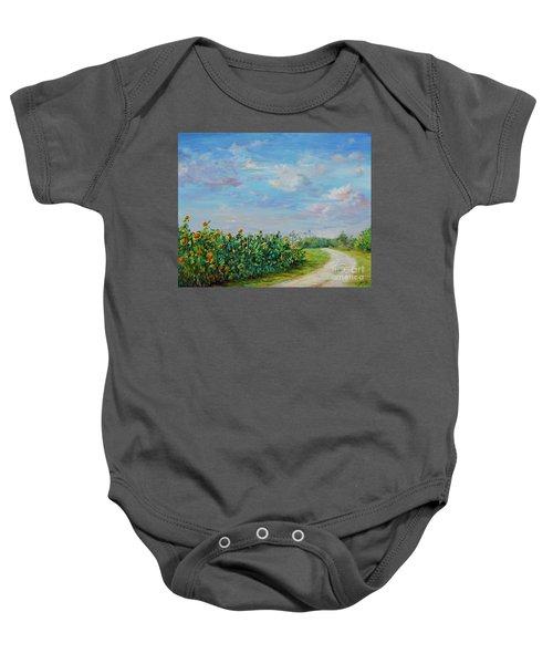 Sunflower Field Ptg Baby Onesie