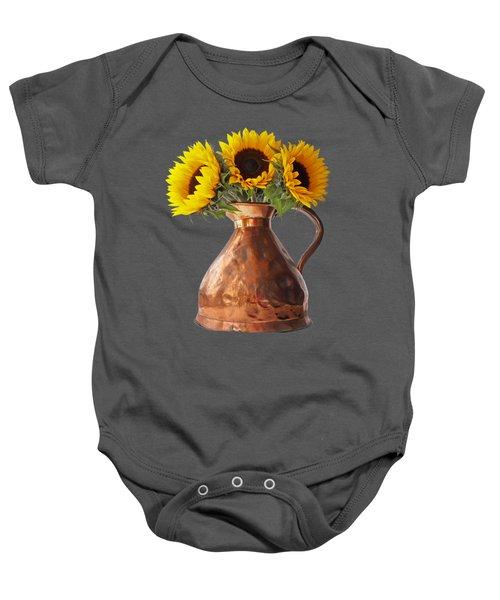 Sunflowers In Copper Pitcher On Black Baby Onesie