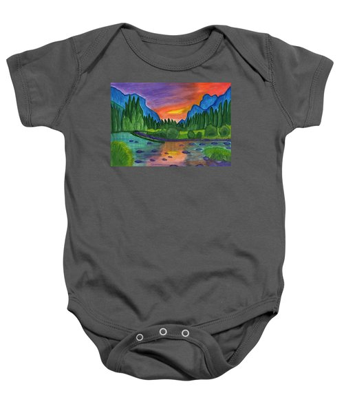 Mountain River In The Background Of The Forest And The Blue Mountains At Sunset Baby Onesie