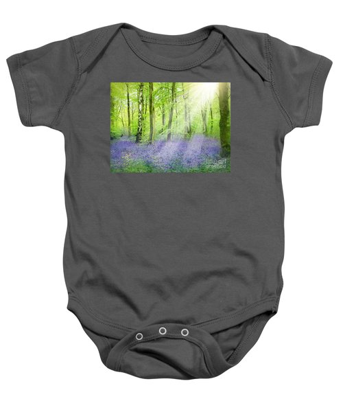 Baby Onesie featuring the pyrography The Bluebell Woods by Morag Bates