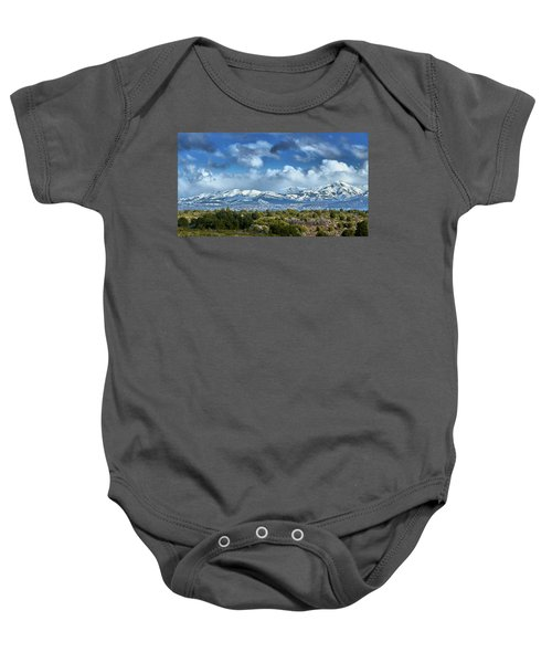 The City Of Bariloche And Landscape Of Snowy Mountains In The Argentine Patagonia Baby Onesie