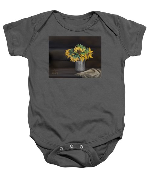Baby Onesie featuring the painting The Sun Flowers  by Fe Jones