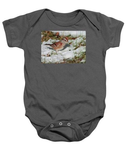Tree Sparrow In Snow Baby Onesie