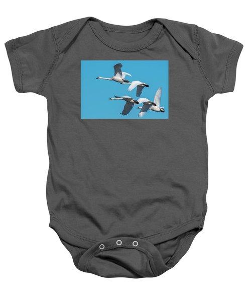 Tundra Swans In Flight Baby Onesie