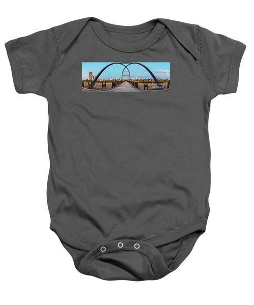 Twilight Panorama Of Bill Coats Bridge Over Brays Bayou - City Of Houston Texas Medical Center Baby Onesie