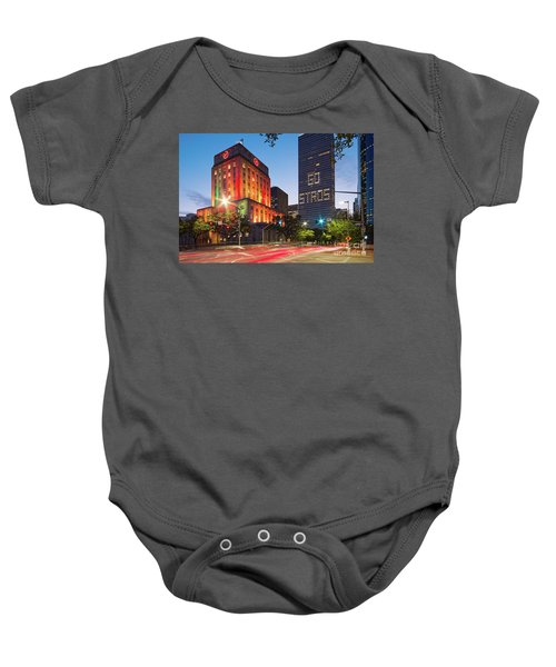 Twilight Photograph Of Houston City Hall Astros Baseball World Series 2017 - Downtown Houston Baby Onesie