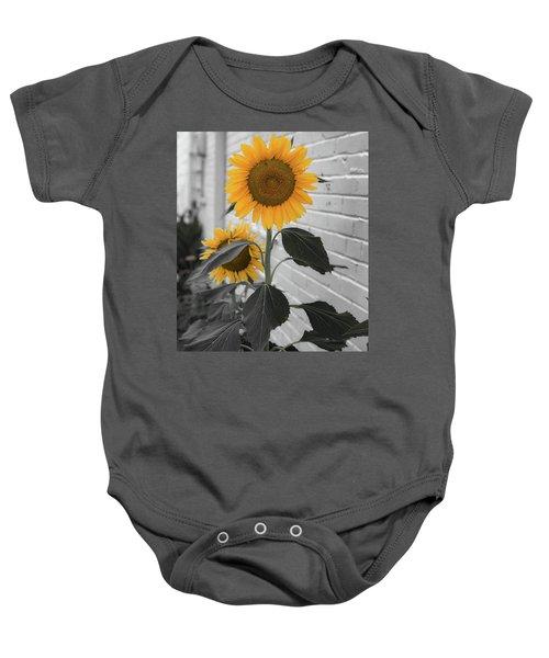 Urban Sunflower - Black And White Baby Onesie