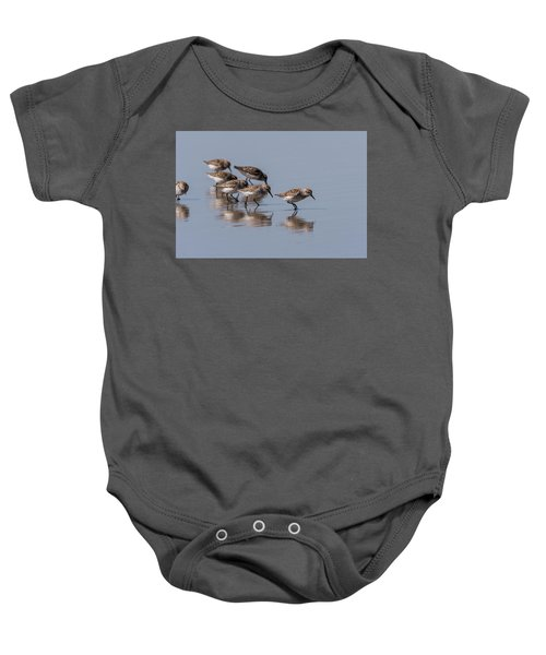 Western Sandpipers And Reflection Baby Onesie