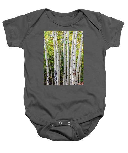 Baby Onesie featuring the photograph White Bark Golden Forest by James BO Insogna