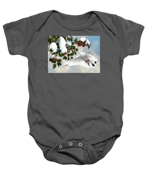 White Dove And Holly Baby Onesie