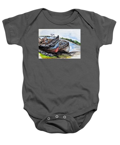 Wrecked River Boats Baby Onesie