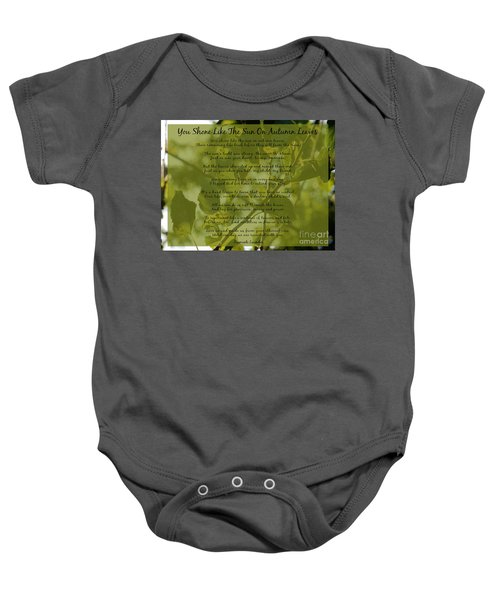 You Shone Like The Sun On Autumn Leaves Poem Baby Onesie