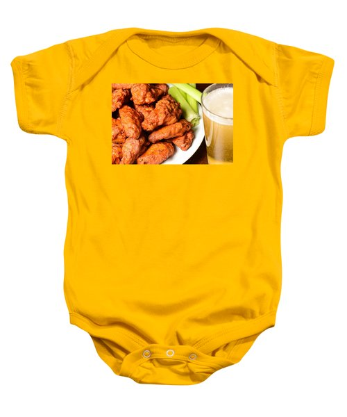 Buffalo Wings With Celery Sticks And Beer Baby Onesie