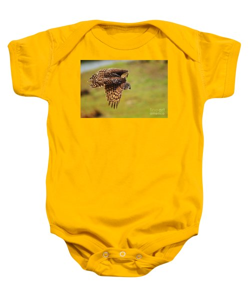 Spotted Eagle Owl In Flight Baby Onesie