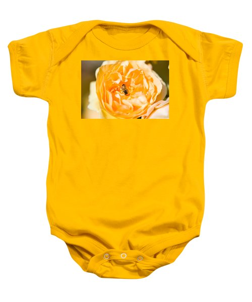 Bee Pollinating A Yellow Rose, Beverly Baby Onesie by Panoramic Images