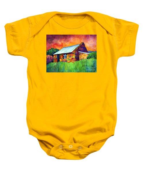 Blue Roof Cottage Baby Onesie