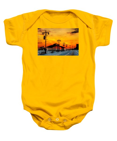 Coney Island Winter Sunset Baby Onesie