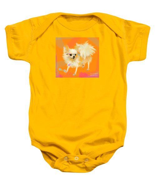 Baby Onesie featuring the painting Dog Chihuahua Orange by Go Van Kampen