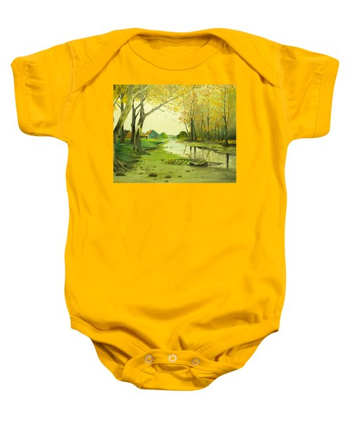 Fall By The Stream By Merlin Reynolds Baby Onesie