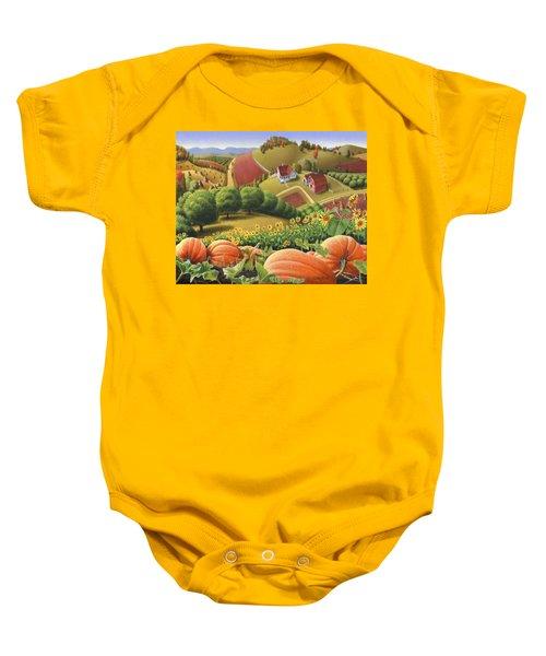 Farm Landscape - Autumn Rural Country Pumpkins Folk Art - Appalachian Americana - Fall Pumpkin Patch Baby Onesie