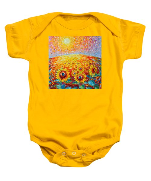 Fields Of Gold - Abstract Landscape With Sunflowers In Sunrise Baby Onesie