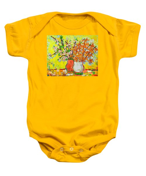 Forsythia And Cherry Blossoms Spring Flowers Baby Onesie