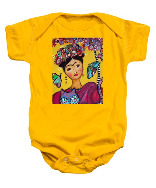 Frida Kahlo And Her Cat Baby Onesie