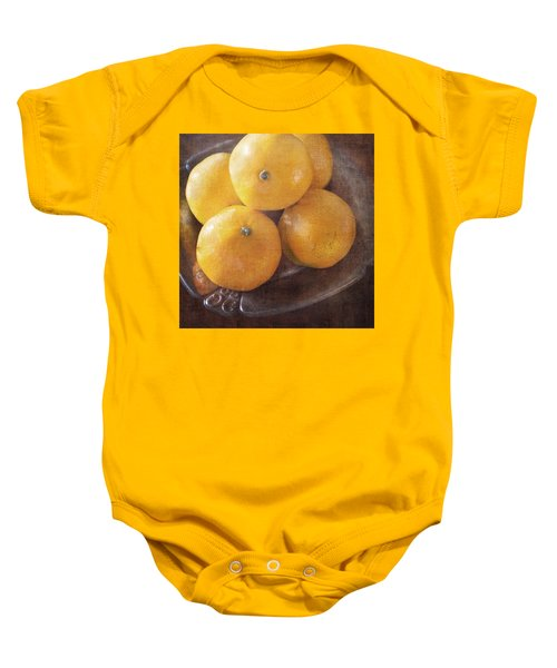 Fruit Still Life Oranges And Antique Silver Baby Onesie