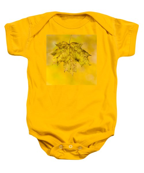 Baby Onesie featuring the photograph Golden Maple Leaf by Sebastian Musial