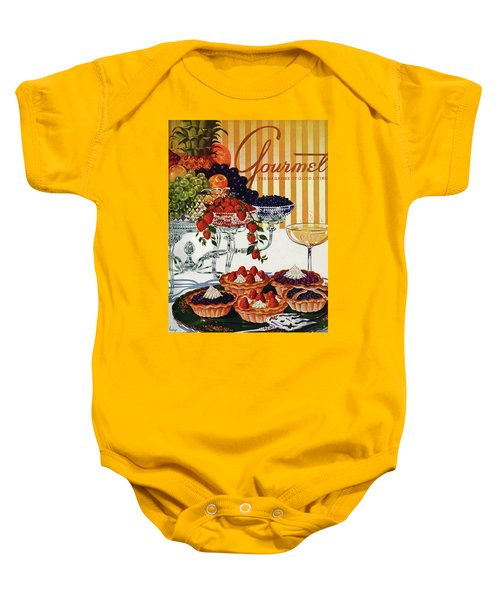 Gourmet Cover Of Fruit Tarts Baby Onesie