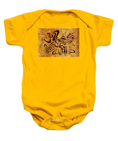 Baby Onesie featuring the painting Jazz Abstract Coffee Painting by Georgeta  Blanaru