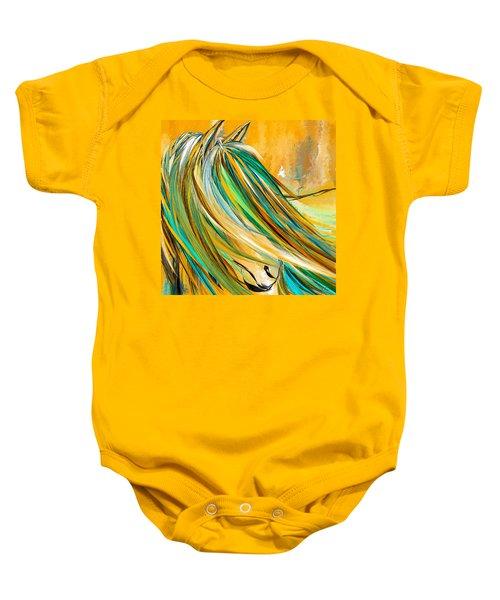 Joyous Soul- Yellow And Turquoise Artwork Baby Onesie