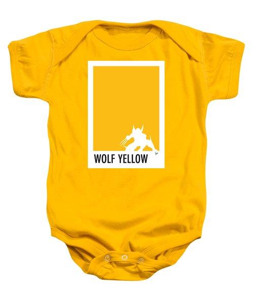 My Superhero 05 Wolf Yellow Minimal Poster Baby Onesie