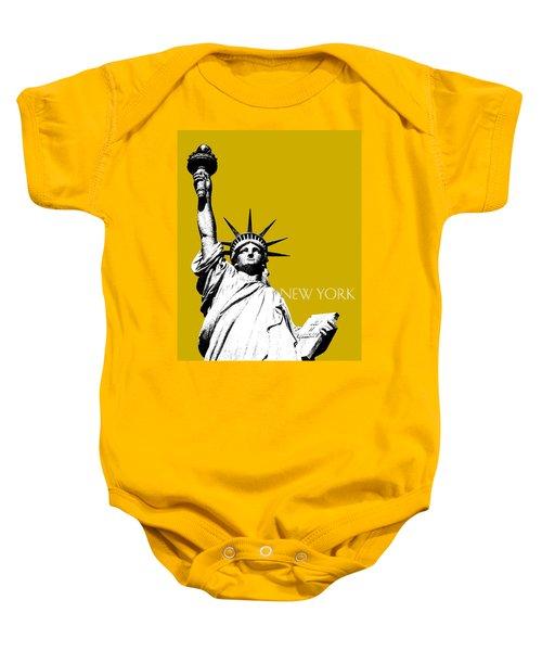 New York Skyline Statue Of Liberty - Gold Baby Onesie