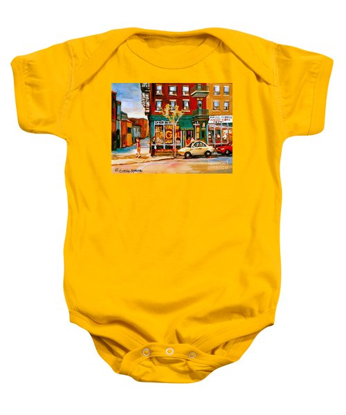 Paintings Of  Famous Montreal Places St. Viateur Bagel City Scene Baby Onesie