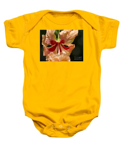 Peach And Red Flower Baby Onesie