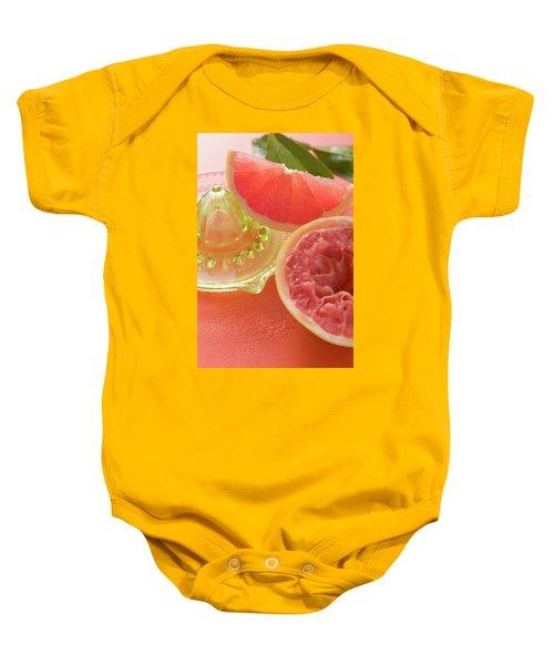 Pink Grapefruit Wedge, Squeezed Grapefruit, Citrus Squeezer Baby Onesie