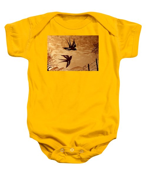 Baby Onesie featuring the painting Playful Swallows Original Coffee Painting by Georgeta  Blanaru