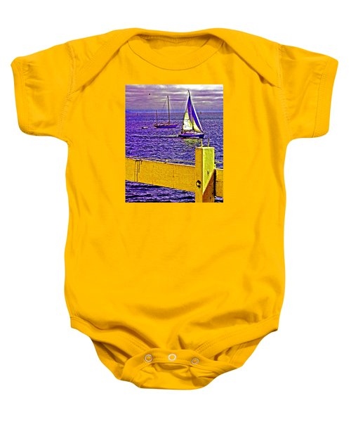 Port Of Call 4 Sailboats  Baby Onesie